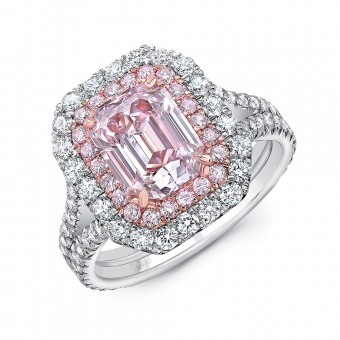 Uneek Emerald Cut Light Pink Diamond Engagement Ring VS2 GIA Certified with Pink Purple Diamonds and Round White Diamonds Side Stones, in Platinum