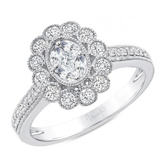 Uneek Petals Design Cluster Diamond Center Ring with Pave Diamond Shank in 14K White Gold - LVRG3103W