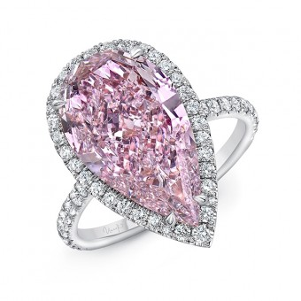 Uneek Pear Shaped Pink Purple Diamond Engagement Ring I1 GIA Certified with White Diamond Side Stones, in Platinum