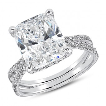 "Uneek ""Le Pur et Simple"" French-Pave Diamond Engagement Ring, in 18k White Gold - LVS1050CU"