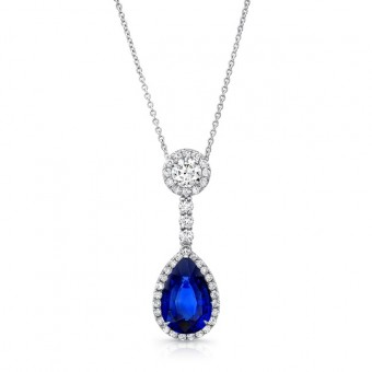 Uneek Pear-Shaped Blue Sapphire Pendant with Round Diamond Accent