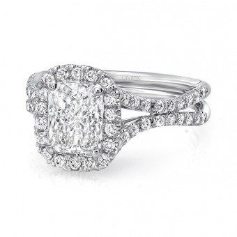 "Uneek Elongated Cushion Cut Diamond Halo Engagement Ring with Pave ""Silhouette"" Double Shank, in 14K White Gold"