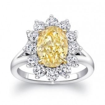 "Uneek LVS934 ""Sunburst"" Oval Yellow Diamond Halo Engagement Ring"