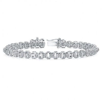 Uneek 18K Gold Cube Link Diamond Bracelet LBR139
