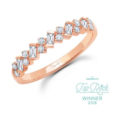 """Uneek """"Sweetzer"""" Baguette and Round Diamond Stacking Ring, in 14K Yellow Gold"""