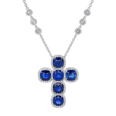 Uneek Sapphire and Diamond Cross Pendant in 18K White Gold