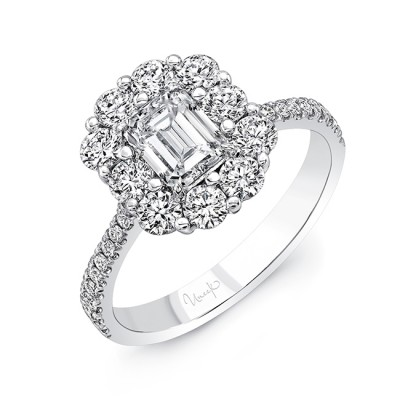Uneek Emerald-Cut Diamond Engagement Ring with Scallop-Inspired Shared-Prong Round Diamond Halo, 18K White Gold