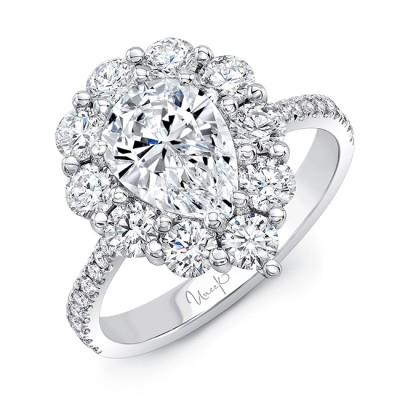 Uneek Pear-Shaped Diamond Engagement Ring with Scallop-Inspired Shared-Prong Round Diamond Halo