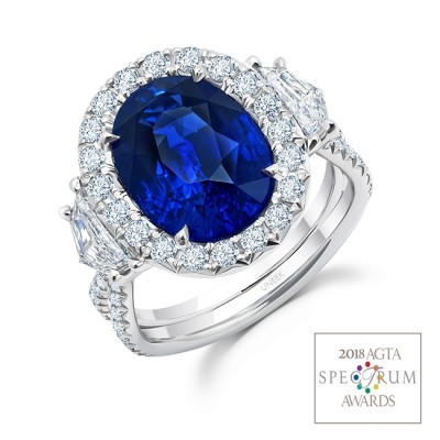 Uneek Oval Royal Blue Sapphire Ring with Epaulettes Diamond Sidestones and Silhouette Pavé Shank, in Platinum