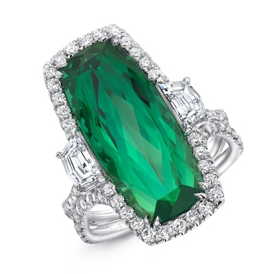 "Uneek ""The Empress"" Cushion Cut Emerald Engagement Ring, in Platinum - LVS1064CU"