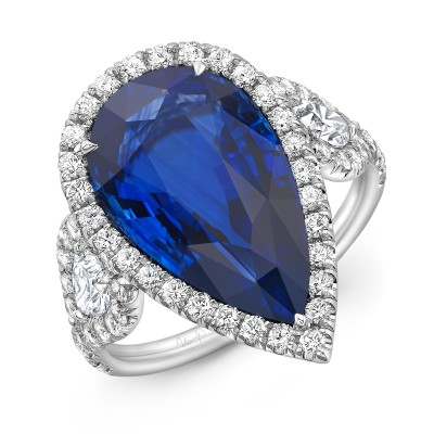 Uneek Pear Shaped Blue Sapphire Engagement Ring, in Platinum - LVS1067BS