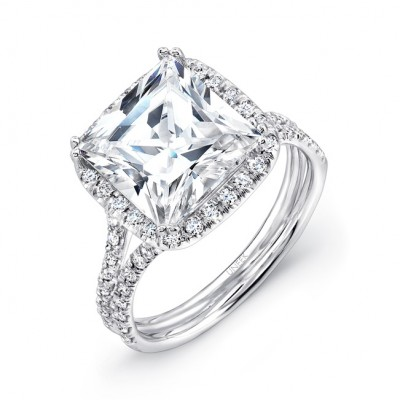 """3-Carat Princess-Cut Diamond Halo Engagement Ring with """"Silhouette"""" Double Shank from Uneek"""