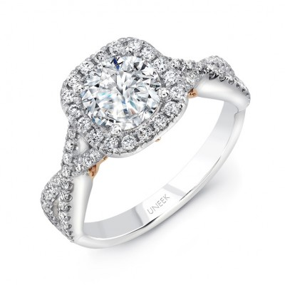 """Primavera"" Round Diamond Halo Engagement Ring from Uneek"