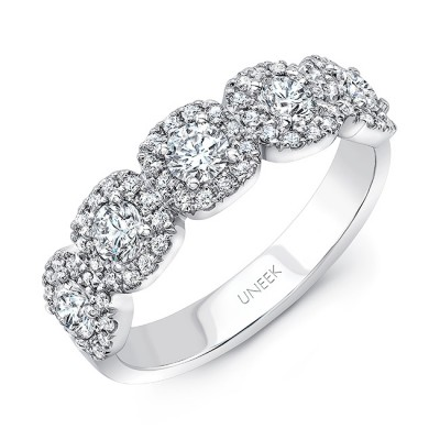 Uneek Round Diamond Band with Cushion-Shaped Halo Details, 18K White Gold