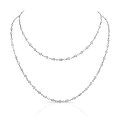 Uneek 32-Inch Diamonds by the Yard Necklace, 18K White Gold
