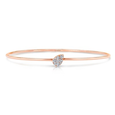 """Uneek """"Whittier"""" Skinny Bangle with Tilted Teardrop-Shaped Clusters of Diamonds, Rose Gold"""