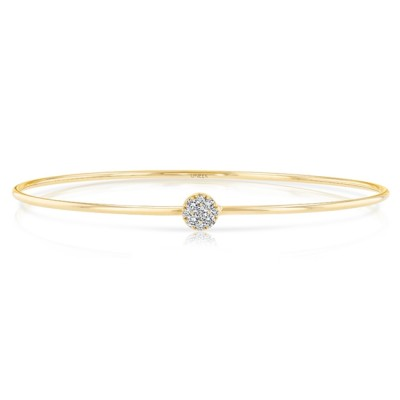 """Uneek """"Durant"""" Skinny Bangle with Round Diamond Cluster Accent, Yellow Gold"""