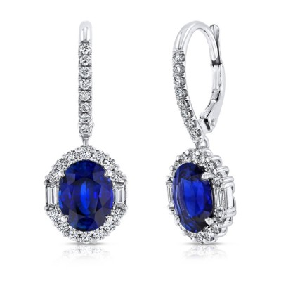 Uneek Oval Blue Sapphire Dangle Earrings with Round and Baguette Diamond Halos, 18K White Gold