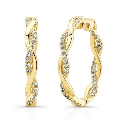"Uneek ""Loma Linda"" Petite Inside-Out Diamond Hoop Earrings, Yellow Gold version"