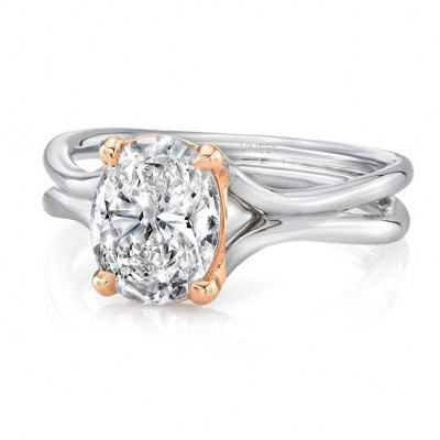"""Oval Diamond Solitaire Engagement Ring with High Polish White Gold """"Silhouette"""" Shank and Rose Gold Accents from Uneek"""