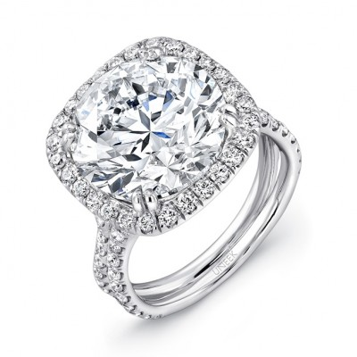 "Uneek 9-Carat Round Diamond Halo Engagement Ring with Pave ""Silhouette"" Double Shank, in Platinum"