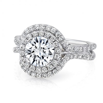 Round Diamond Engagement Ring with Staggered Double Halo and Pave Double Shank from Uneek