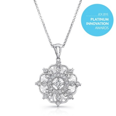 "Uneek ""Snowflake"" Diamond Pendant Necklace, Platinum"
