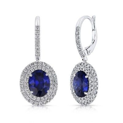 Uneek Oval Blue Sapphire Drop Earrings with Diamond Double Halos, White Gold