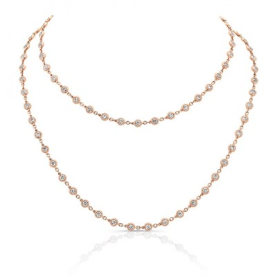 Uneek 32-Inch Diamonds-by-the-Yard Necklace, 18K Rose Gold