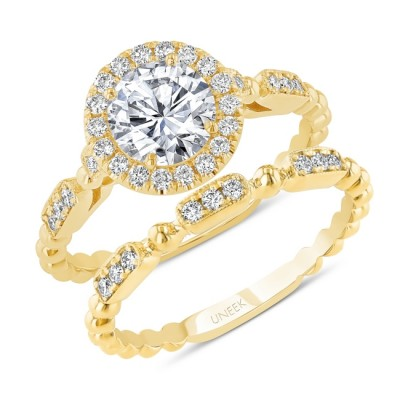 Uneek Round Diamond Halo Engagement Ring and Matching Wedding Band, with High Polish Bead Accents and Milgrain-Trimmed Pave Bars, Yellow Gold