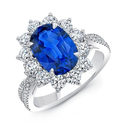 Uneek Oval Blue Sapphire Cocktail Ring with Sunburst Diamond Halo and Tapered Diamond Accents, 18K White Gold