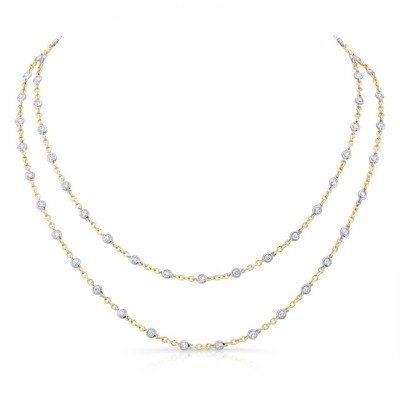 Uneek 32-Inch Diamonds by the Yard Necklace, 18K Two-Tone Gold