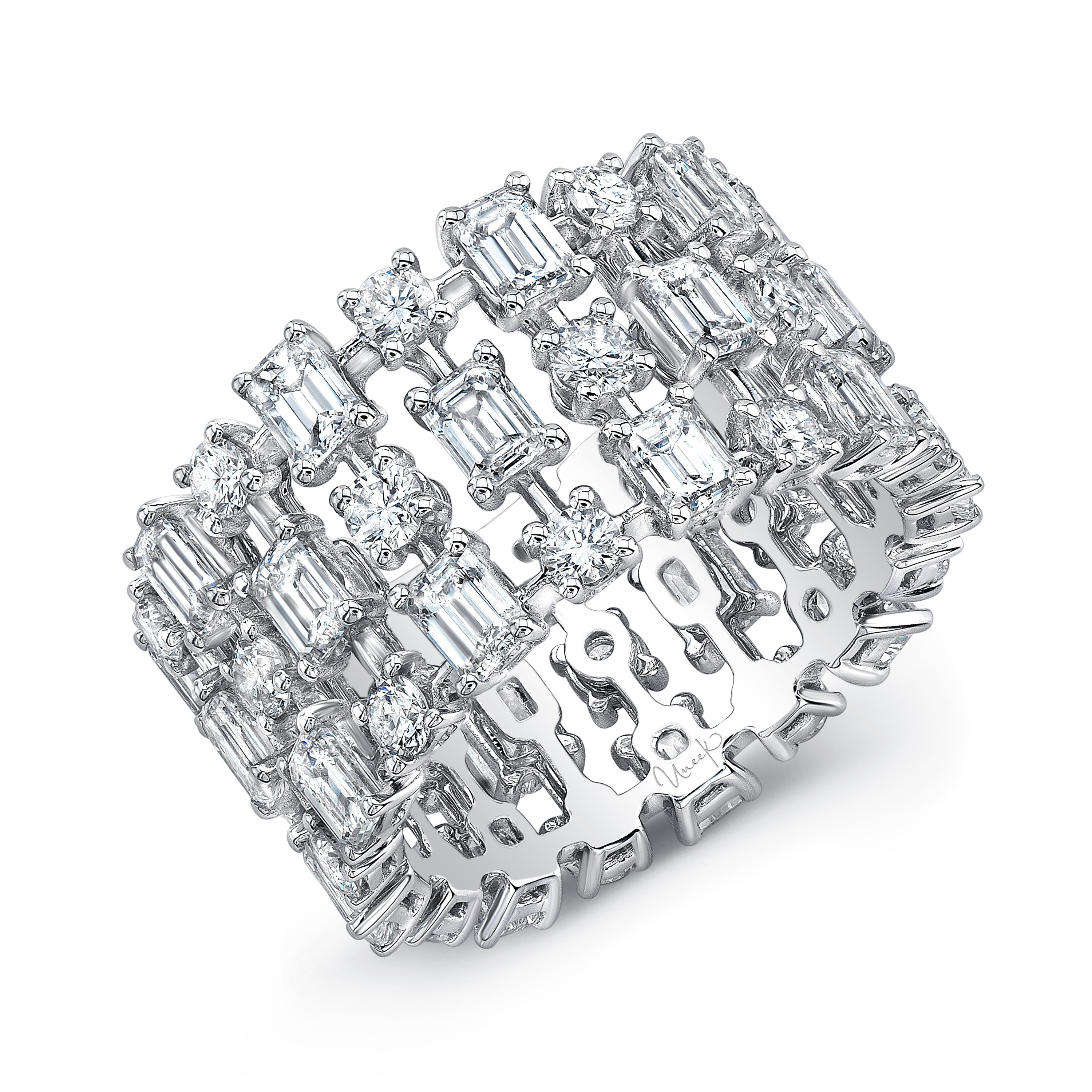 Uneek Round and Emerald Cut Diamond Eternity Ring, in 18K White Gold