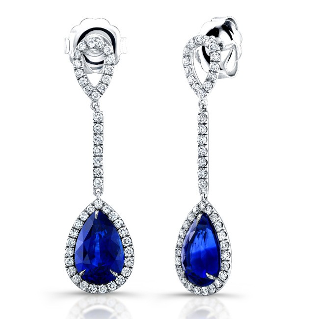 Uneek 18K White Gold Sapphire and Diamond Earrings LVE176