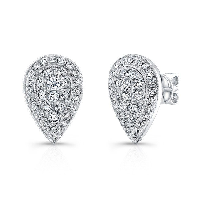 baa7aa57b Bouquet Collection 14K White Gold Pear Shaped Diamond Stud Earrings LVE292