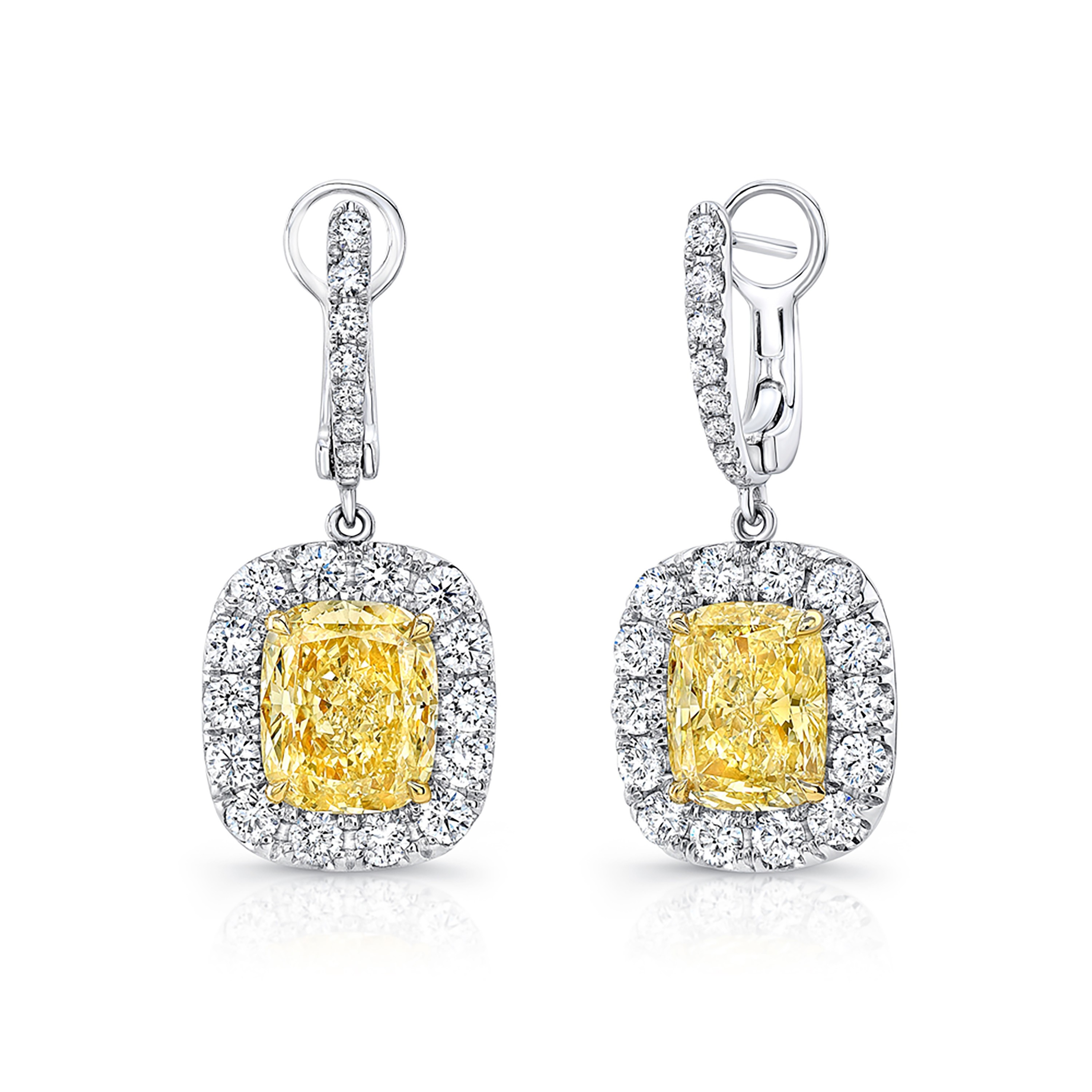 Uneek Cushion Cut Fancy Yellow Diamond Dangle Earrings In