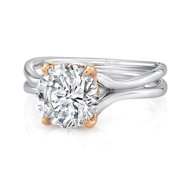 """Round Diamond Solitaire Engagement Ring with High Polish White Gold """"Silhouette"""" Shank and Rose Gold Accents, from Uneek"""