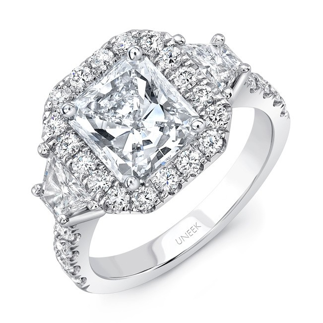 Uneek Contemporary Three-Stone Engagement Ring with Radiant-Cut Diamond Center, in Platinum