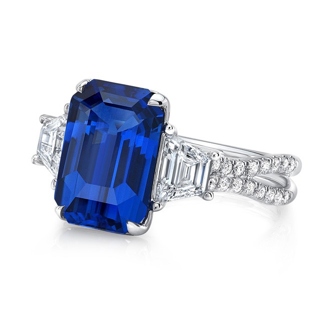 b52dad64d244bf ... Modern Sapphire-and-Diamond Three-Stone Engagement Ring with Pave