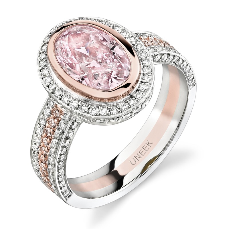 Uneek Natureal Light Pink Oval Diamond Engagement Ring LVS205