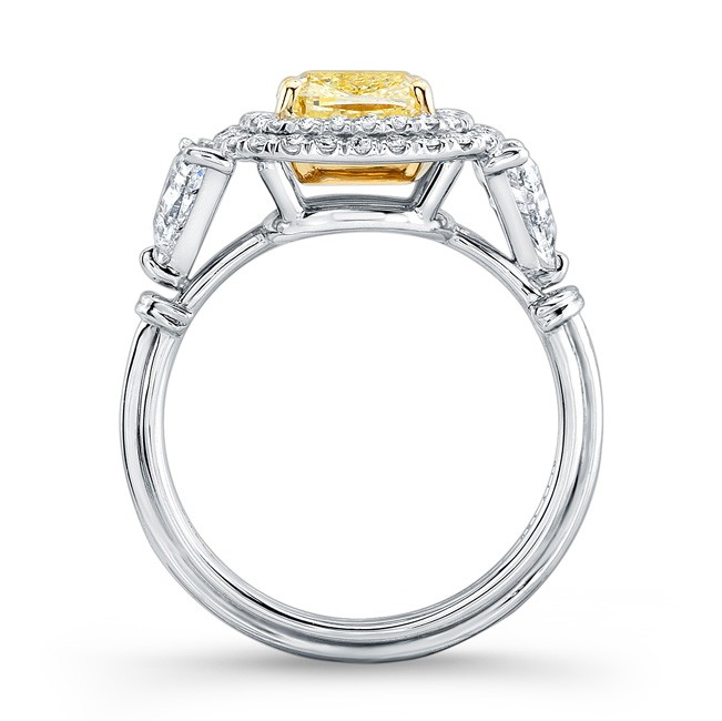 Uneek Cushion Cut Yellow Diamond Engagement Ring With Double