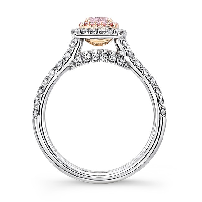 b80031d5557 Uneek Radiant-Cut Pink Diamond Halo Engagement Ring - 18K White and ...