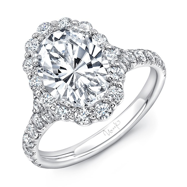 Uneek Oval Diamond Engagement Ring with Shared-Prong Round Diamond Halo and Pavé Shank, in 14K White Gold
