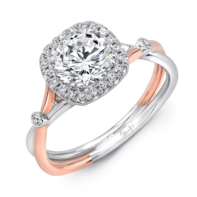 Round Diamond Engagement Ring with Cushion-Shaped Halo and Two-Tone Silhouette Double Shank with Bezel Shoulder Accents from Uneek