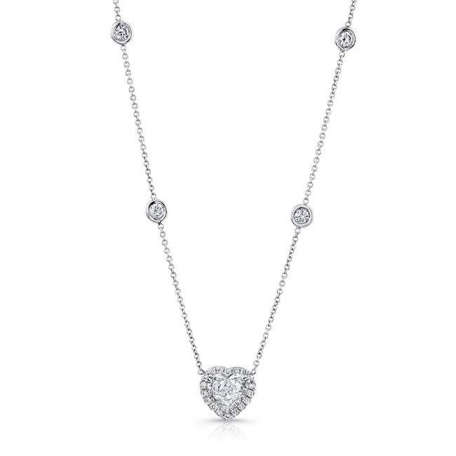 Uneek Heart-Shaped Diamond Pendant Necklace with Halo
