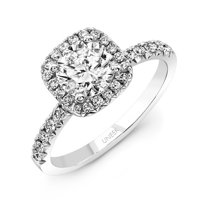 Classic Round-Diamond-on-Cushion-Halo French Cut Engagement Ring, in 14K White Gold