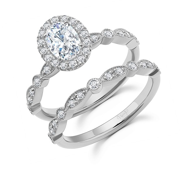 Uneek Us Oval Diamond Ring Engagement Ring and Wedding Band, in 14K White Gold - SWUS003OVW-7X5.5OV