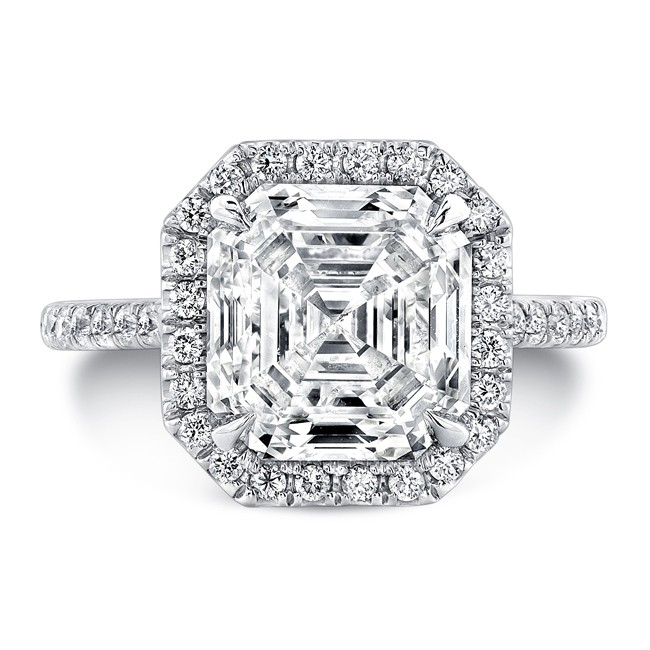 c5fd8172655cd Uneek 4-Carat Asscher-Cut Diamond Halo Ring, in Platinum
