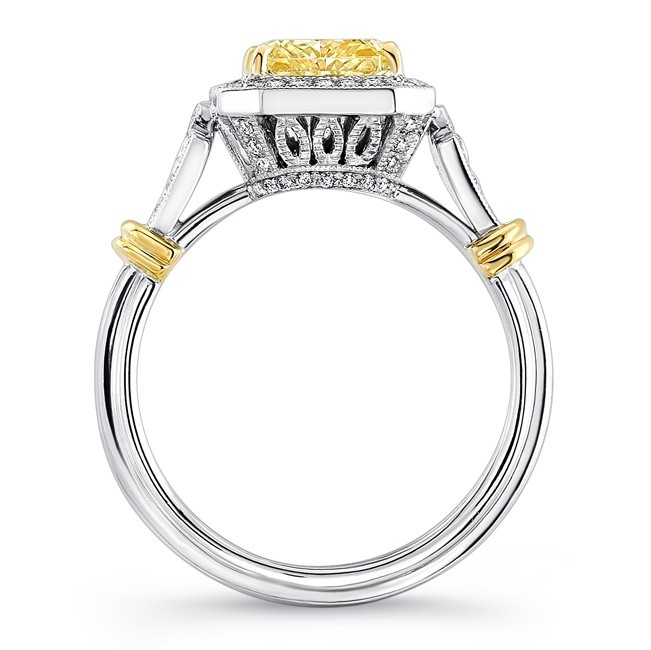 8a1cc96224572 Uneek Radiant-Cut Fancy Yellow Diamond Halo Engagement Ring with ...