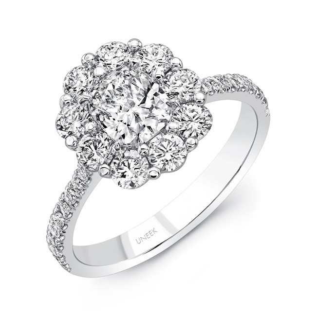 Uneek Cushion-Cut Diamond Engagement Ring with Scallop-Inspired Shared-Prong Round Diamond Halo, 18K White Gold